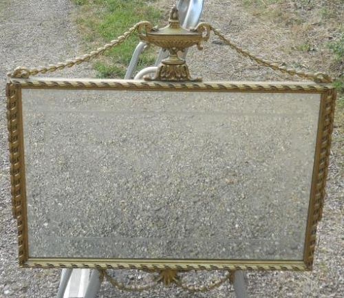 Rectangular Carved Gilt Hanging Wall Mirror in Regency Style